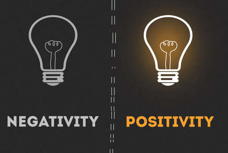 Negativity or Positivity Concept With light Bulb ig gray background concept bulb