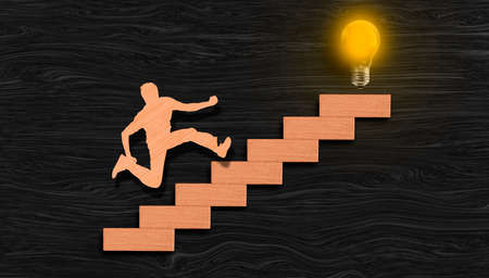Young man ascending graph chart to reach bulb glowing bulb on top (his Idea realization), success process concept, goal achievement and dreams realization.