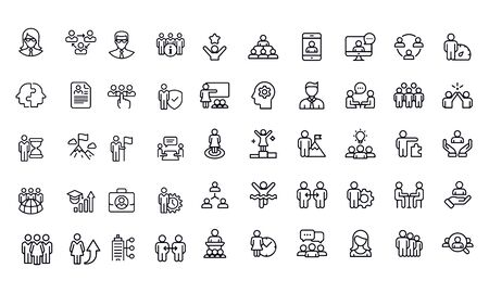 Business icon set outline icon