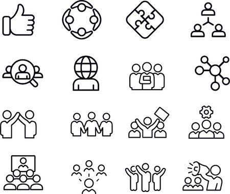 Teamwork Line Icons. Editable Stroke