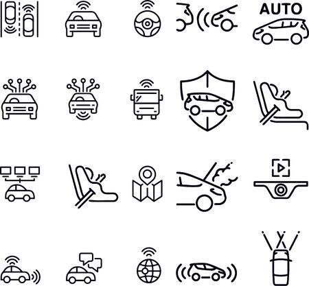 Autonomous car icons vector design black and white Ilustração
