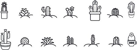 cactus icon set vector design black and white 일러스트