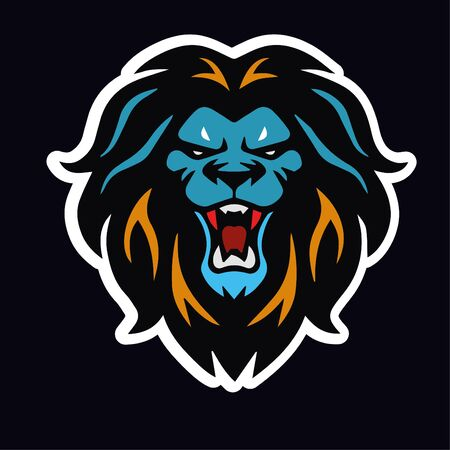 angry lions sticker vector design