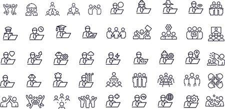 Business Teams Thin Line Icons - Editable Stroke