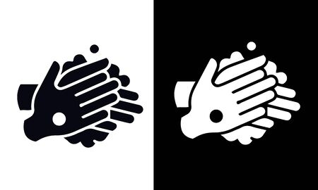 Hand washing vector design black and white