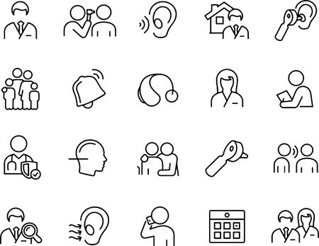 Audiology icons Thin Line