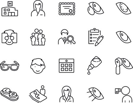 Optometry Thin Line Icons vector design