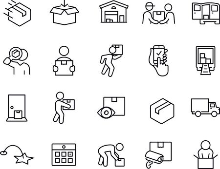 Package Delivery Thin Line Icons vector design