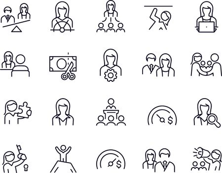 Business Women Thin Line Icons Stock Illustratie