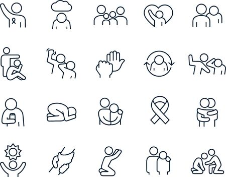 Domestic Violence icons vector design outline Illustration