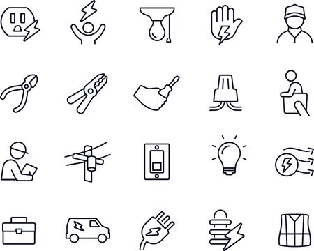Electrician Line Icons vector design Illustration