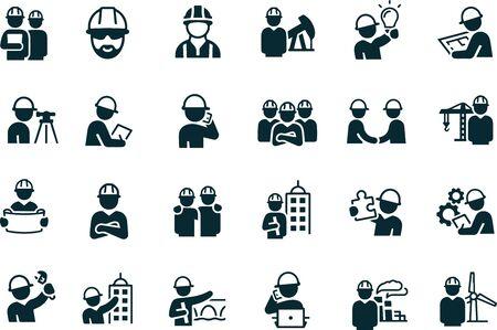 Conception de vecteur d'icônes d'ingénieurs Vecteurs