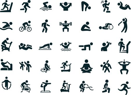 Fitness method Icons vector design