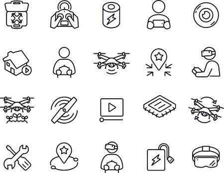 Quadcopter Thin Line Icons