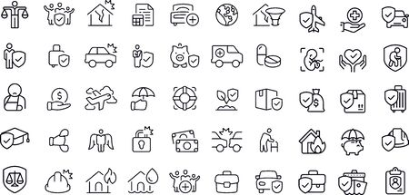 Insurance - set of line vector icons Illustration