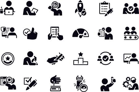 Quality Control Icons vector design black and white