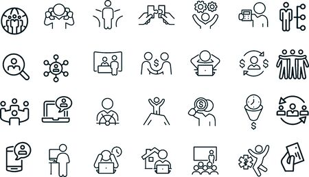 Self Employment icons vector design outline Illustration