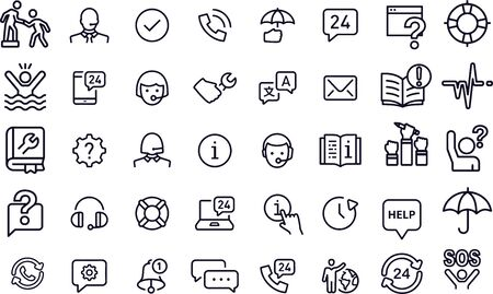 Help and Support Line Icons Illustration