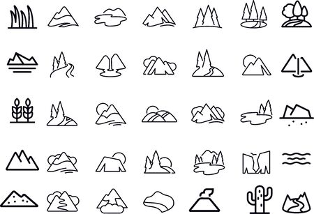 Mountains and Trees icons vector design
