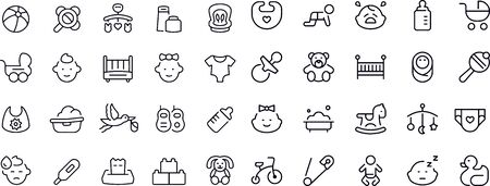 Baby - Regular Line Icons Vectores
