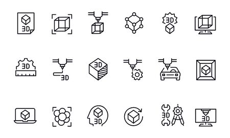 3D printing icons vector design outline