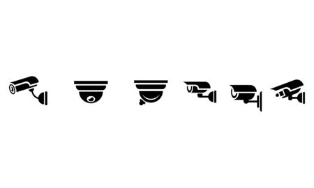 Surveillance security camera icons set