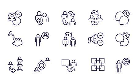 Refer icon set vector design outline Vetores