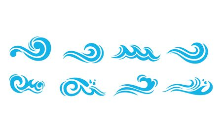 Water waves icons vector design