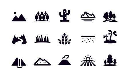 Landscape and Landform Icons Vektorové ilustrace