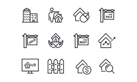 Real estate icons vector design outline