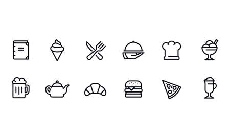 Restaurant icons vector design Çizim