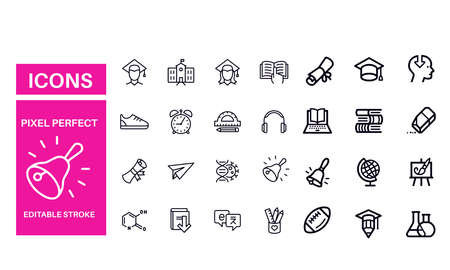 Back to School - set of line vector icons