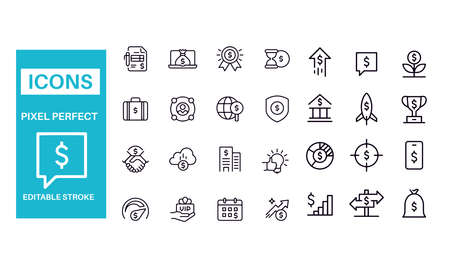 Investment and Money Related Icons vector design