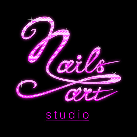 Nail studio with sparkling glitter pink effect lettering banner hand writing