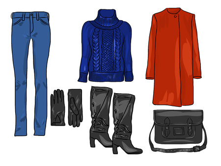 Ensemble de mode élégant de vecteur de vêtements et accessoires d'automne, de printemps ou d'hiver pour femme. Tenue décontractée colorée avec pull, pantalon, manteau, gants, sac et bottes. Vecteurs