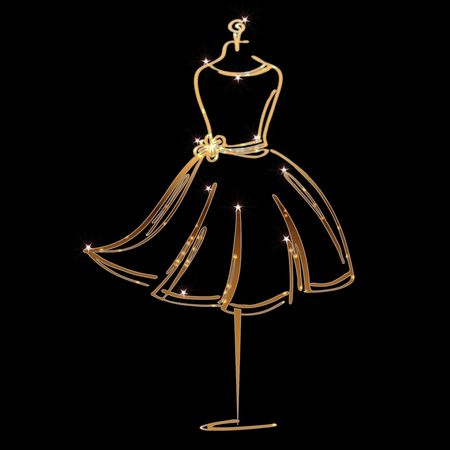 Tailor dummy fashion icon on black background.