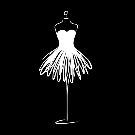 Tailor dummy fashion icon on white background.