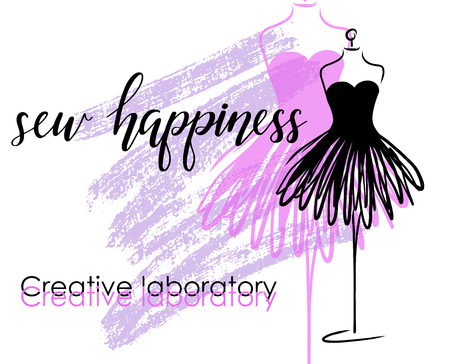Tailoring emblem with mannequin, banner with lettering sew happiness. Vektorgrafik