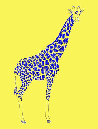 Vector illustration of a blue silhouette giraffe. Print, emblem of zoo Vektorové ilustrace