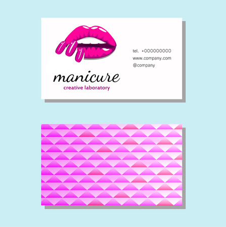 Business card with Beautiful girl lips with bright pink manicure nails. Beauty Business card, banner, poster. Vector illustration