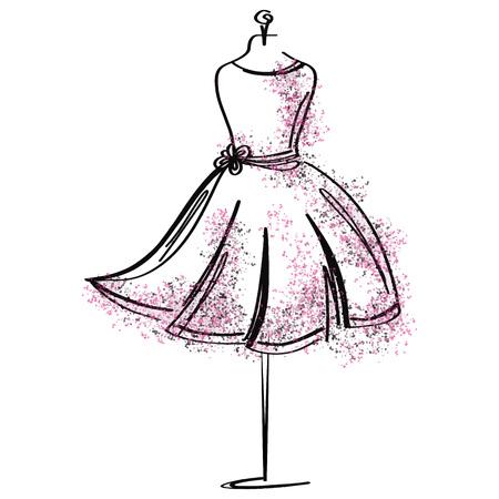 Icona della moda fittizia su misura su priorità bassa bianca. Oggetto di atelier, designer, costruttore, sarto. Simbolo nero Couture, sfondo bianco sagoma. Illustrazione vettoriale.