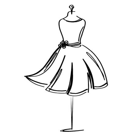 Ikona moda manekin krawiec na białym tle. Atelier, projektant, konstruktor, obiekt krawcowy. Czarny symbol Couture, sylwetka białe tło. Ilustracja wektorowa. Ilustracje wektorowe