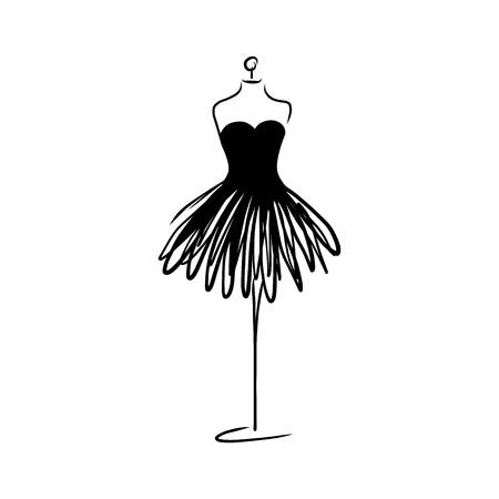 Ikona moda manekin krawiec na białym tle. Atelier, projektant, konstruktor, obiekt krawcowy. Czarny symbol Couture, sylwetka białe tło. Ilustracja wektorowa.