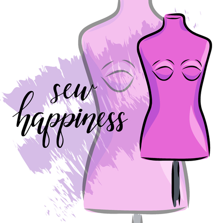 Tailoring emblem with mannequin or dummy and banner with lettering sew happiness. Fashion and tailoring   design. Vector