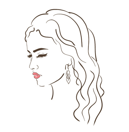 Young woman face, fashion sketch, black and white linear face drawing. Vector illustration, poster, banner