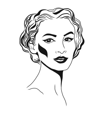 Young woman face, fashion sketch, black and white linear face drawing. Vector illustration, poster, banner.