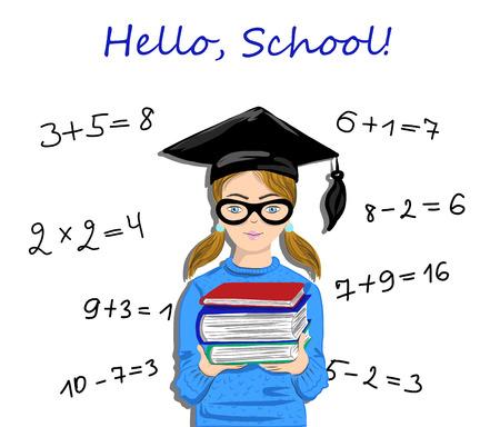 Hello school inspirational quote written on school blackboard. Pupil, student girl staying next to blackboard vector illustration Illustration