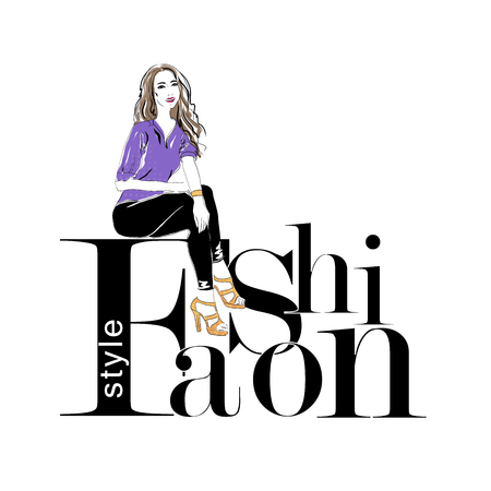 Beautiful young woman sitting on a letter Fashion style. Fashion girl, Stylish woman. Sketch. Vector illustration. EPS 10