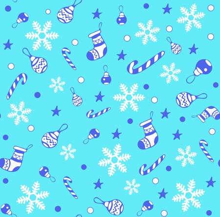Happy New Year and Merry Christmas seamless pattern for greeting card, Background, wrapping paper, with socks, lollipop, striped stick, Christmas toy, star, snowflake. EPS 8 Vettoriali