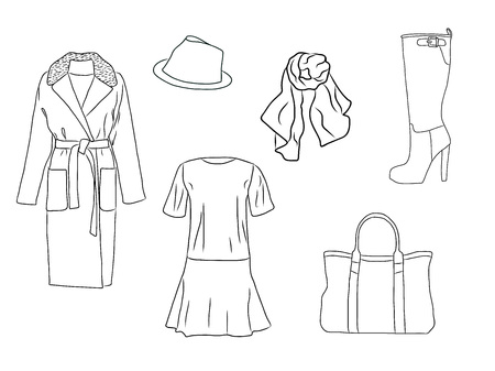Vector stylish fashion set of woman autumn, spring or winter clothes and accessories. Casual silhouette outfit with dress, coat, hat, bag, scarf and boot. EPS8